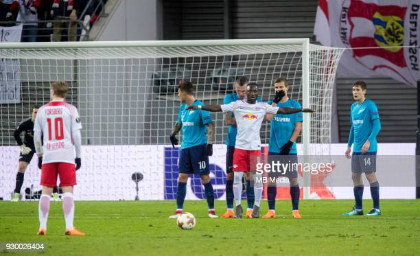 Europa League Round of 16 First leg Football match at RB Arena RB Leipzig 2 1 Zenit RB Leipzig's Emil Forsberg Naby Leye Keita and Zenit St...