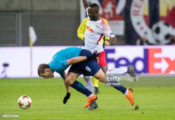 Europa League Round of 16 First leg Football match at RB Arena RB Leipzig 2 1 Zenit Zenit St Petersburg's Aleksander Kokorin and RB Leipzig's Naby...