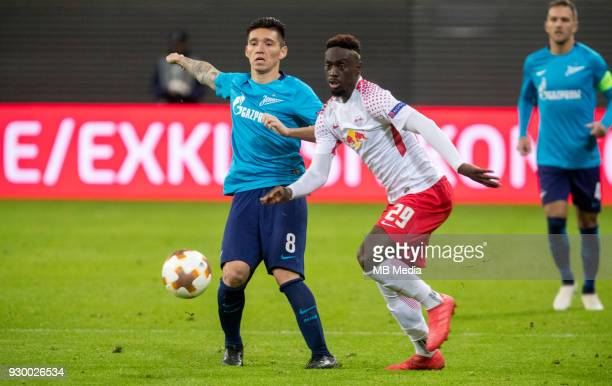 Europa League Round of 16 First leg Football match at RB Arena RB Leipzig 2 1 Zenit Zenit St Petersburg's Matias Kranevitter and RB Leipzig's...