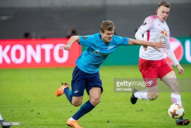 Europa League Round of 16 First leg Football match at RB Arena RB Leipzig 2 1 Zenit Zenit St Petersburg's Aleksander Kokorin