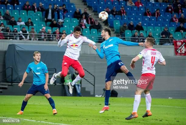 Europa League Round of 16 First leg Football match at RB Arena RB Leipzig 2 1 Zenit Zenit St Petersburg's Aleksander Kokorin RB Leipzig's Bernardo...