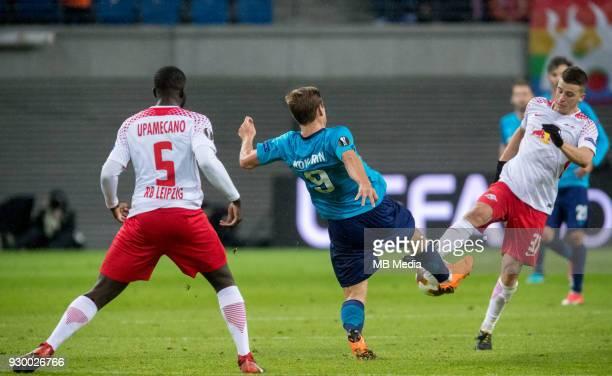 Europa League Round of 16 First leg Football match at RB Arena RB Leipzig 2 1 Zenit RB Leipzig's Dayot Upamecano Zenit St Petersburg's Aleksander...
