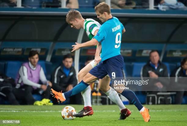 Zenit St Petersburg 3 0 Celtic FC Celtic's Kristoffer Ajer and Zenit St Petersburg's Aleksander Kokorin