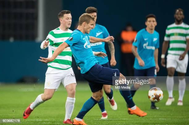 Zenit St Petersburg 3 0 Celtic FC Celtic's Callum McGregor and Zenit St Petersburg's Aleksander Kokorin