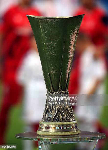 Europa League trophy on display before the UEFA Super Cup Final at the Cardiff City Stadium Cardiff