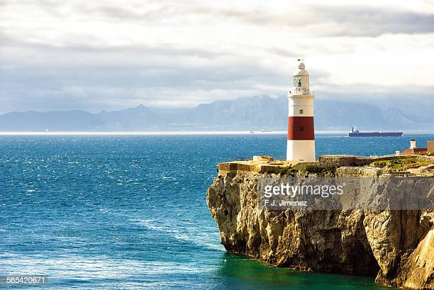 europa point lighthouse, gibraltar - rock of gibraltar stock photos and pictures