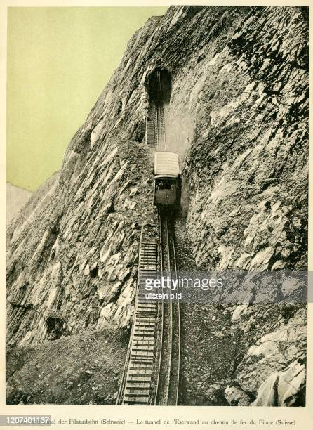 """Europa, Schweiz, Obwalden, Zahnradbahn von Alpnachstad zum Pilatus , hier durch den Eselwandtunnel, Motiv aus : """" ´s ELSASS UEWER ALLES """" ,..."""