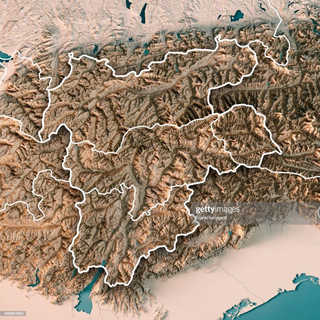 Trentino Alto Adige Regione Autonoma Italy 3d Render Topographic Map