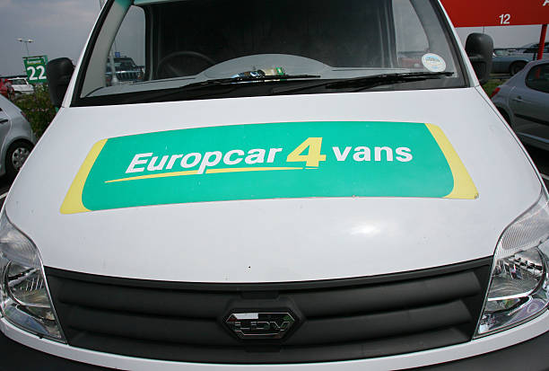A Europcar Van Is Parked In A Rental Lot At London City Airp