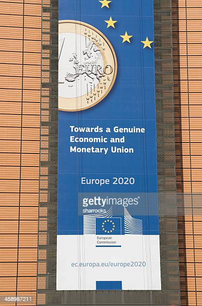 Europe 2020 banner on Berlaymont building in Brussels