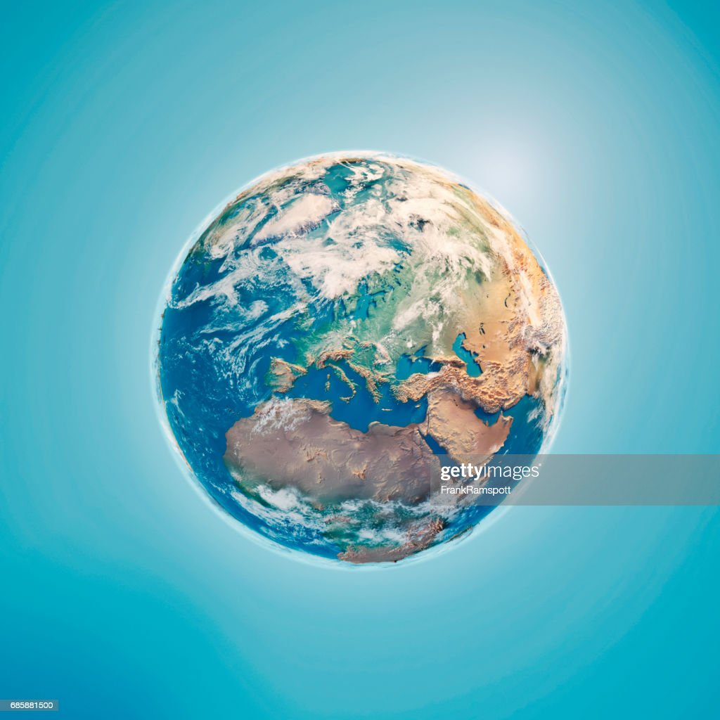Europe 3D Render Planet Earth Clouds : Stock Photo