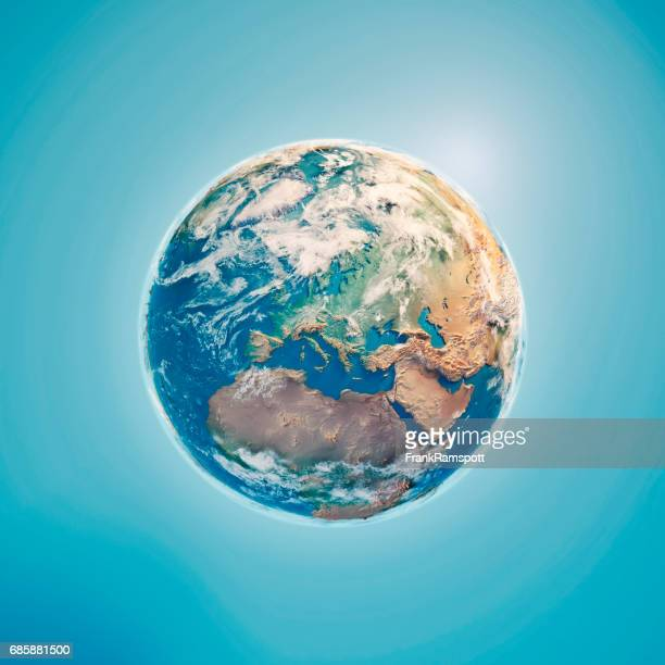 Europe 3D Render Planet Earth Clouds
