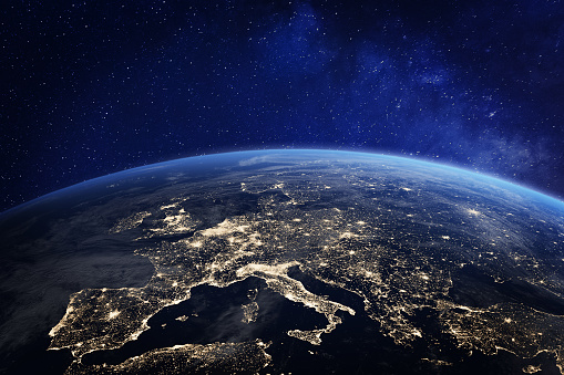 Europe at night from space, city lights, elements from NASA 949615220
