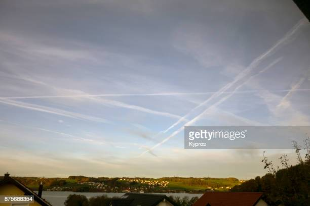 Europe, Austria, 2017: View Of Chemtrails Or Skytrails (Depending On Your Point Of View And Knowledge)
