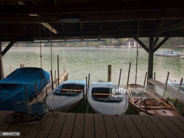 Europe, Austria, Salzburg Area, 2017: View Of Boats For Rent Beside Lake