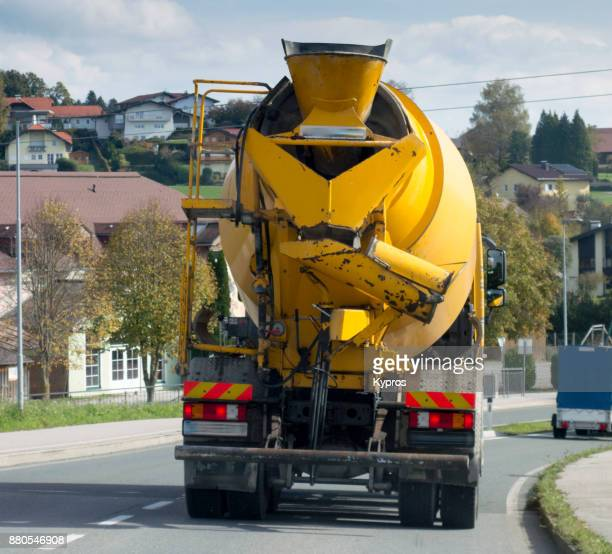 Europe, Austria, Salzburg Area, 2017: View Of Cement Truck Driving On Road