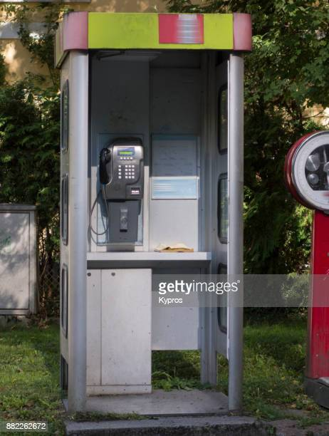 Europe, Austria, Salzburg Area, 2017: View Of Landline Telephone Or Public Phonebox With Weighing Machine