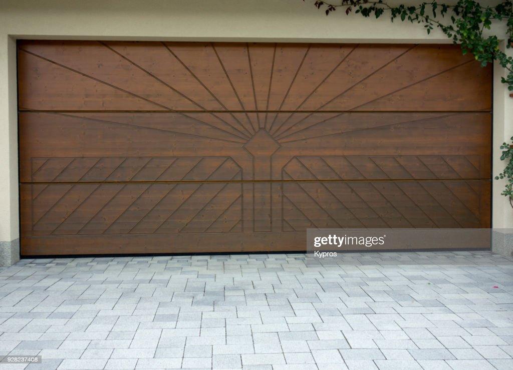 Europe, Austria, Salzburg Area, 2017: View Of Wooden Garage Door