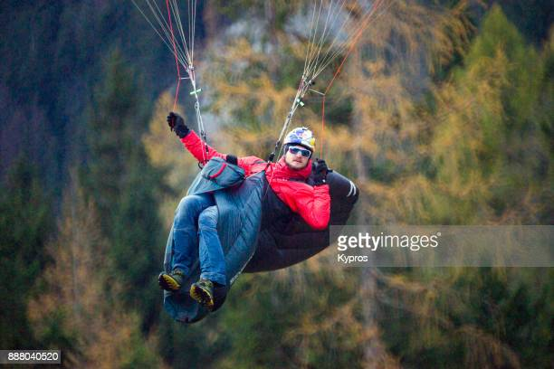 Europe, Austria, Salzburg Area, Tennengau, 2017: View Of Paraglider Using Paragliding Equipment To Fly
