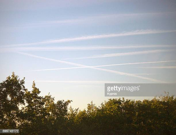 Europe, Belgium, Brussels, View Of Chemtrails Or Skytrails (Depending On Your Point Of View And Knowledge)