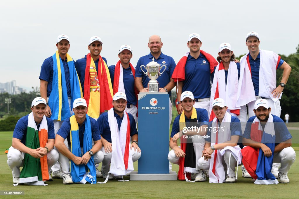 Europe Captain Thomas Bjorn and the Europe team pose with the trophy following their victory during the singles matches on day three of the 2018 EurAsia Cup presented by DRB-HICOM at Glenmarie G&CC on January 14, 2018 in Kuala Lumpur, Malaysia.
