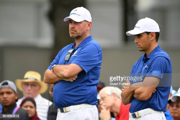 Europe Captain Thomas Bjorn looks on with Rafa CabreraBello of Europe during the singles matches on day three of the 2018 EurAsia Cup presented by...
