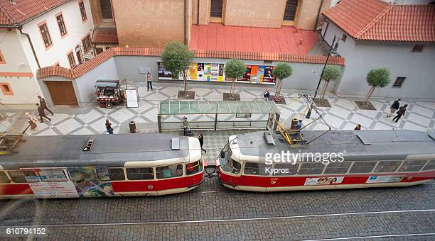 Europe, Czech Republic, Prague, Aerial View Of Tram And Street Scene