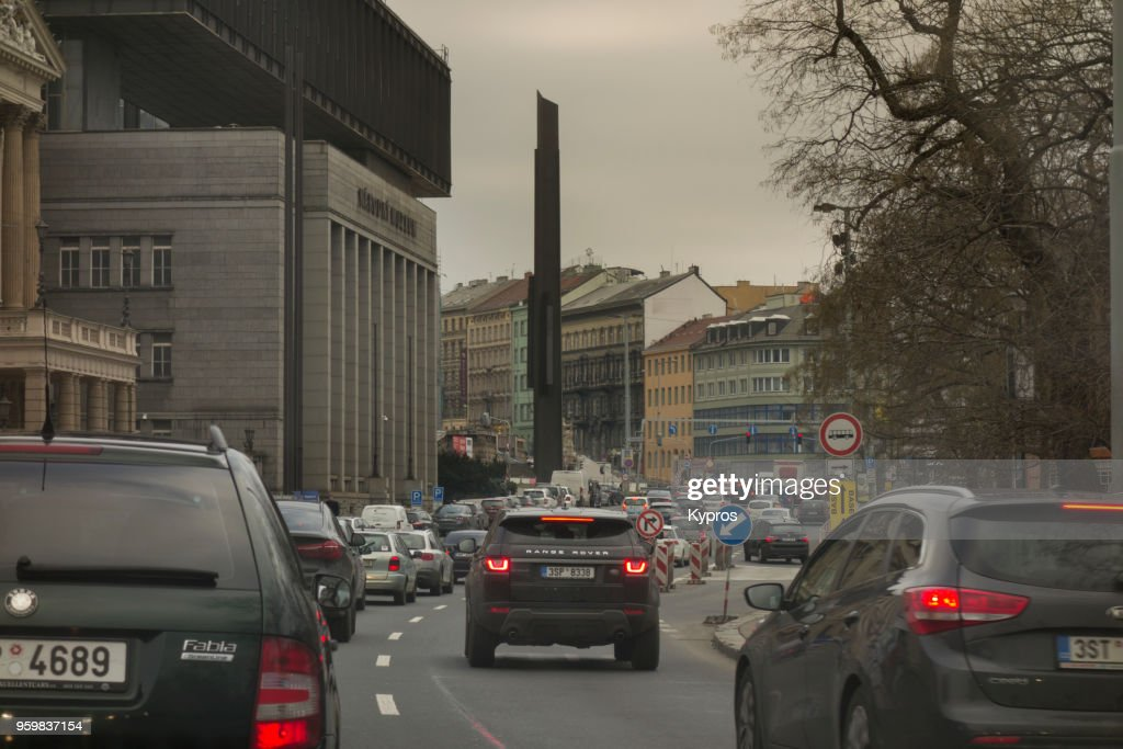 Europe, Czech Republic, Prague Area, 2018: View Of Cars Driving On Main Road : Stock Photo