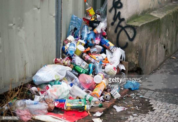 Europe, Czech Republic, Prague, View Of  Pile Of Rubbish Dumped In Street