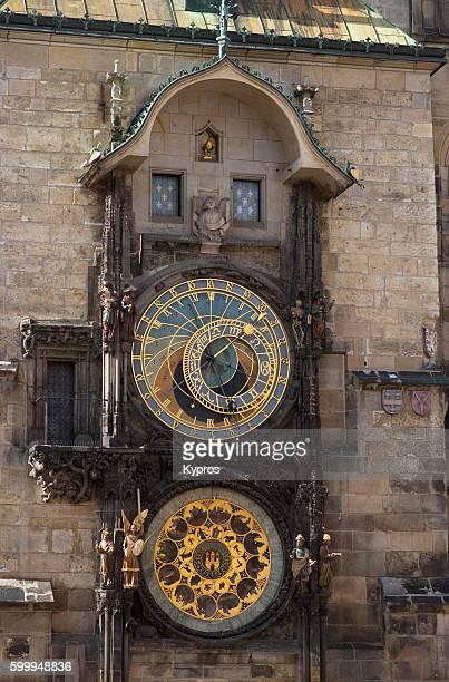 europe, czech republic, prague, view of the astronomical clock orloj medieval timepiece - astronomical clock prague stock pictures, royalty-free photos & images