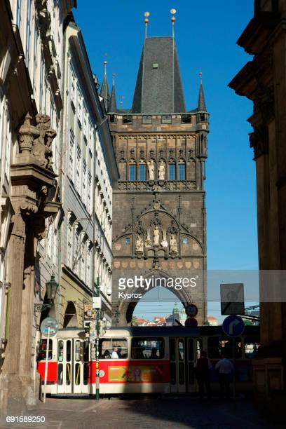 Europe, Czech Republic, Prague, View Of Tram And Powder Tower Or Gothic Powder Gate, Original City Gate, 11Th Century