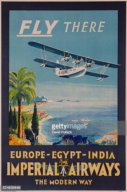 Europe Egypt India Seaplane flying over coastal area with palm trees and mountains seaplane has registration number GEBVG GEBVG was the first Short...