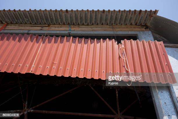 Europe, Europe, Greece, August 2017: View Of Sheet Metal Roofing - Corrugated Galvanized Steel