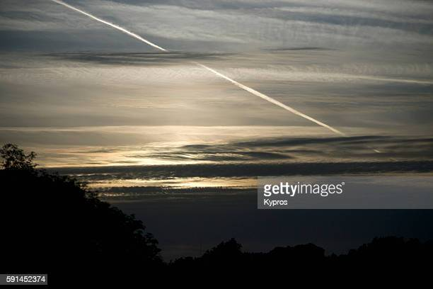 Europe, France, Brittany Area, View Of Chemtrails Or Contrails (Depending On Your Point Of View And Knowledge)