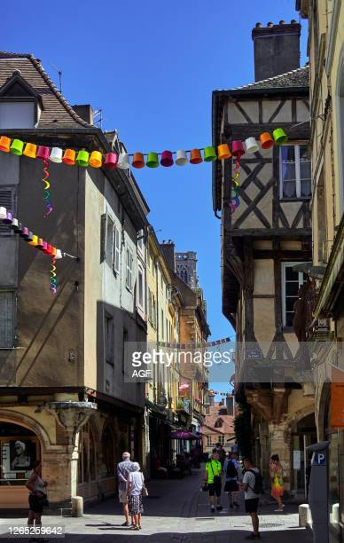 Europe. France. Chalon-sur-Saône city. Bourgogne-Franche-Comté department. Street of St Vincent.The magnificent half-timbered houses date from the...