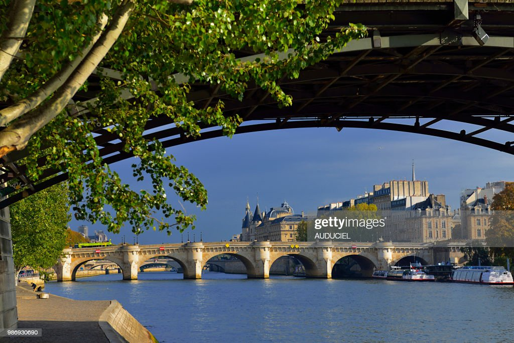 Europe France Paris quay at the height of the Pont des Arts : Stock Photo