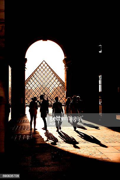 Europe France Paris The Louvre at sunset