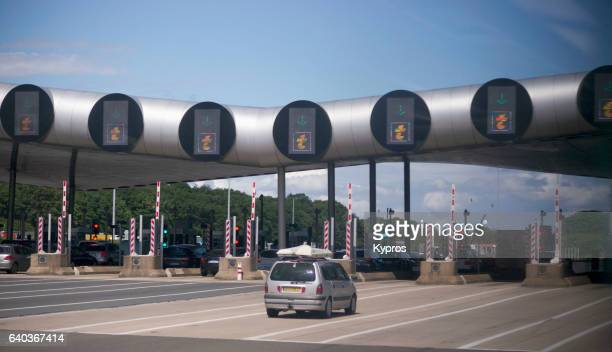 Europe, France, Paris, View Of French Autoroute (Highway) Pay Toll