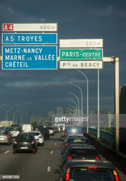 Europe, France, Paris, View Of Traffic On Boulevard Peripherique. Construction Of The Peripherique Started In 1958 On The Former Thiers Wall (City Walls Of Paris) 'n