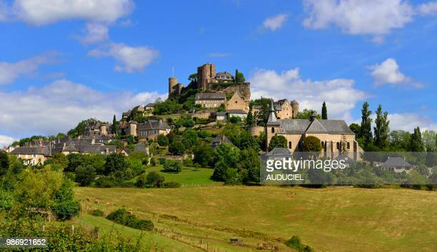 europe, france, tower and rampart of turenne, the prettiest village in france, in correze - correze stock pictures, royalty-free photos & images