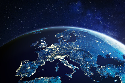 Europe from space at night with city lights showing European cities in Germany, France, Spain, Italy and United Kingdom (UK), global overview, 3d rendering of planet Earth, elements from NASA 1172807596