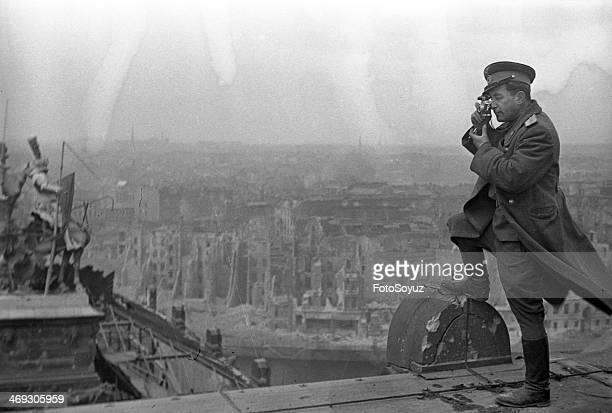 Photographer Mark Redkin on the roof of Reihstag Berlin 2 May 1945