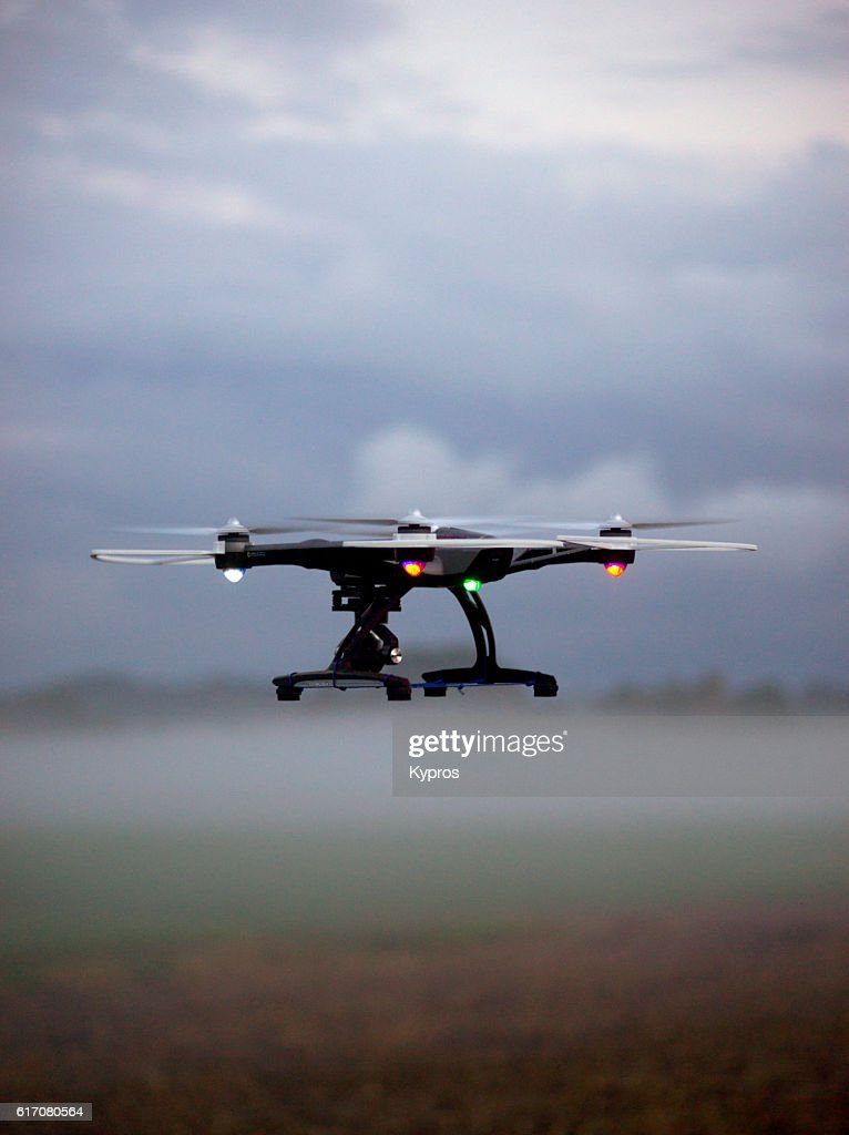 Europe, Germany, Bavaria, Aerial View Drone Flying On Misty Farmland : Stock Photo