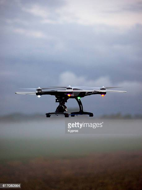 europe, germany, bavaria, aerial view drone flying on misty farmland - copyright stock photos and pictures