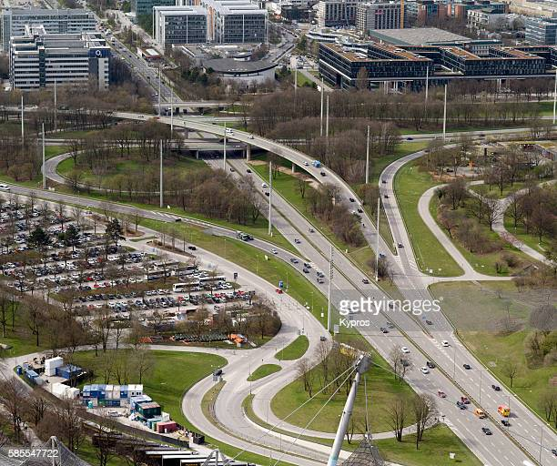 Europe, Germany, Bavaria, Munich, Aerial Cityscape Of Roads