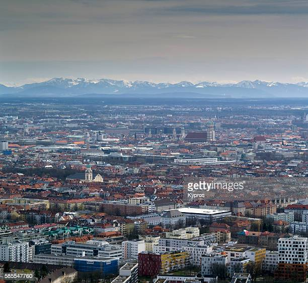 Europe, Germany, Bavaria, Munich, Aerial Cityscape With Bavarian Alps