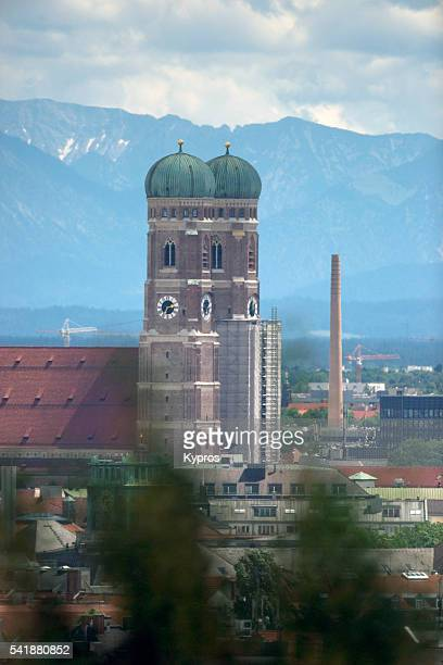 Europe, Germany, Bavaria, Munich View Of Church Of Our Lady (German: Dom Zu Unserer Lieben Frau) Also Called Cathedral Of Saint Mary And Liebfrauenkirche Or Frauenkirche. Construction Started Year 1240