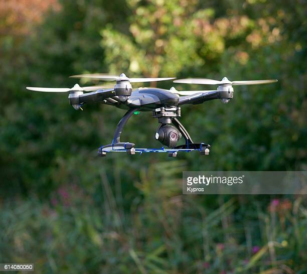 Europe, Germany, Bavaria, View Of Drone (Or Drohne) Helicopter With Camera