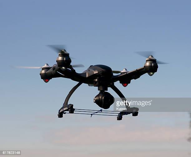 europe, germany, bavaria, view of  drone (or drohne) mid-air flying - crash photos stock-fotos und bilder