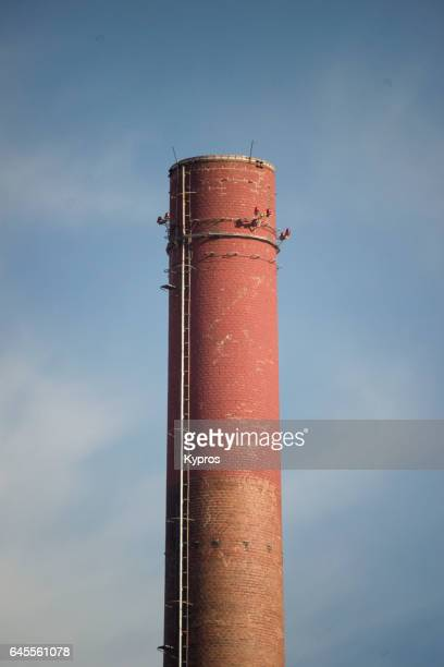 Europe, Germany, Bavaria, View Of Factory Chimney